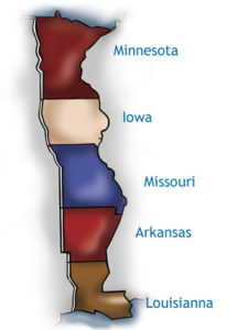 Five states make up the Little Man in the Map