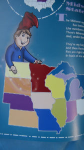 Little Man in the Map, visual clues help children remember the states.